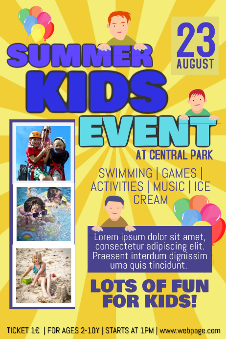 kids event flyer template gala kidneycare co
