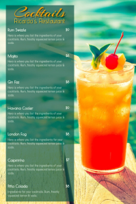 Summer Cocktail Menu Template