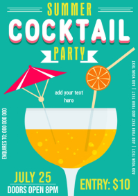 Summer Cocktail Party Bar flyer template