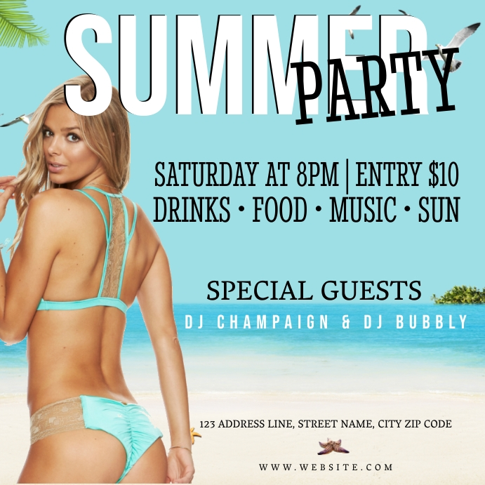 SUMMER COCKTAIL PARTY Event Flyer Template Iphosti le-Instagram