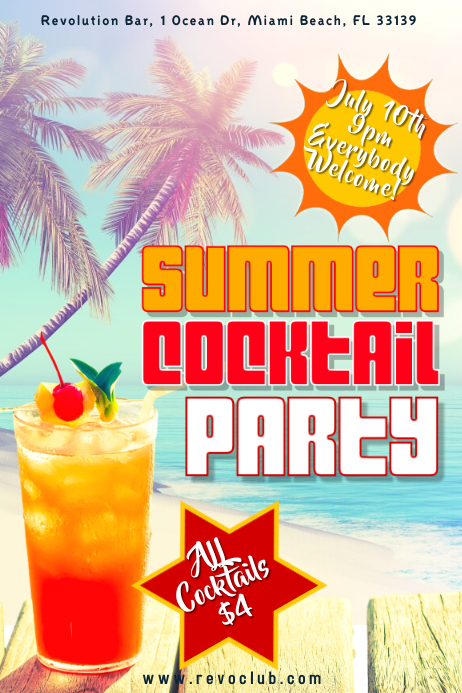 summer cocktail party poster template