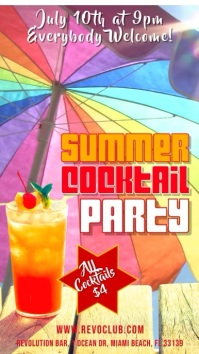 Summer Cocktail Party Video Template Digital Display (9:16)