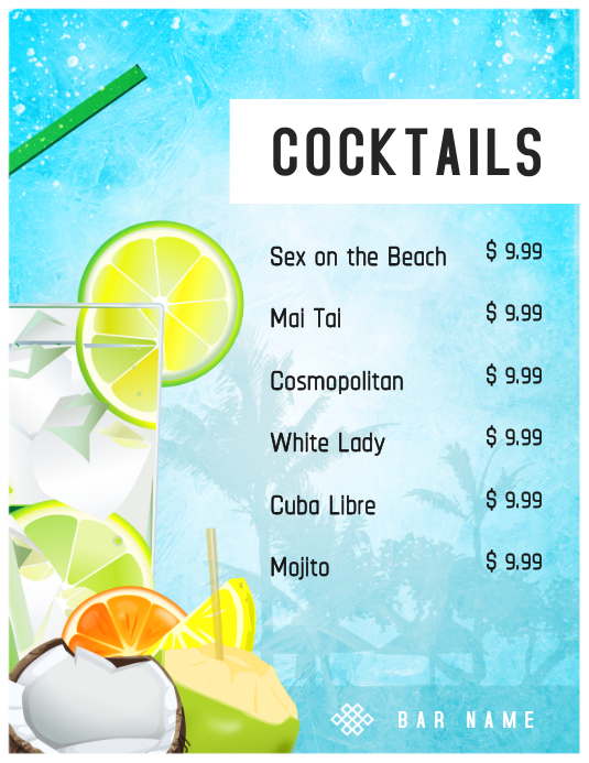 Summer Cocktails Menu Template