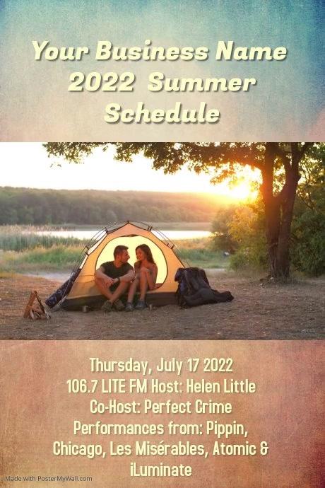 summer concert schedule music camp flyer poster template