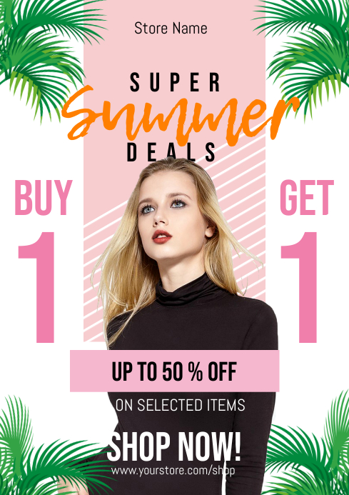 Summer Deal Buy 1 Get 1 Flyer A4 template
