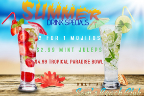 SUMMER DRINK SPECIALS PROMO EVENT BAR CLUB AD POSTER