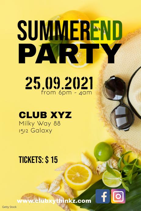 Summer End Party Beach Bar Event Club Flyer Póster template