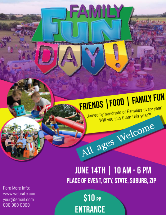 Summer Family Fun Day Flyer Template