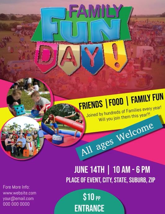 Summer Family Fun Day Video Flyer Template Folder (US Letter)