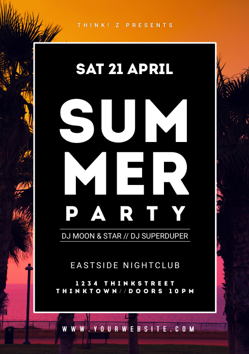 Summer Festival Party Event Beach holiday Ad A4 template