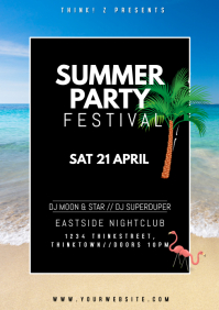 Summer Festival Spring Break Party Flyer Ad A4 template