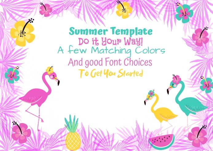 Summer Flamingo Palms Hibiscus Pineapple Wate Postkort template