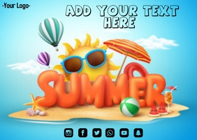 Summer flyer Postkort template