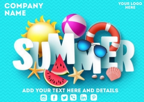 Summer Flyer Postcard template