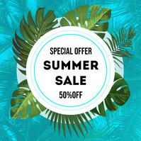 Summer flyer Instagram-opslag template