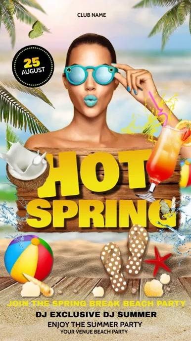 Summer flyers, Tropical, Beach, spring camp Historia de Instagram template
