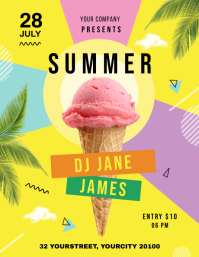 summer flyers,Ice cream flyers Volante (Carta US) template