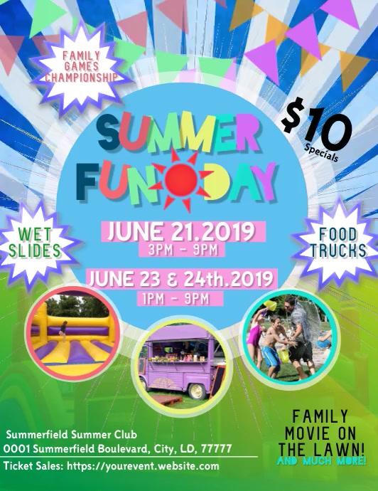 Summer Fun Day Flyer Pamflet (Letter AS) template