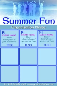 Summer Fun Events Calendar Video Póster template