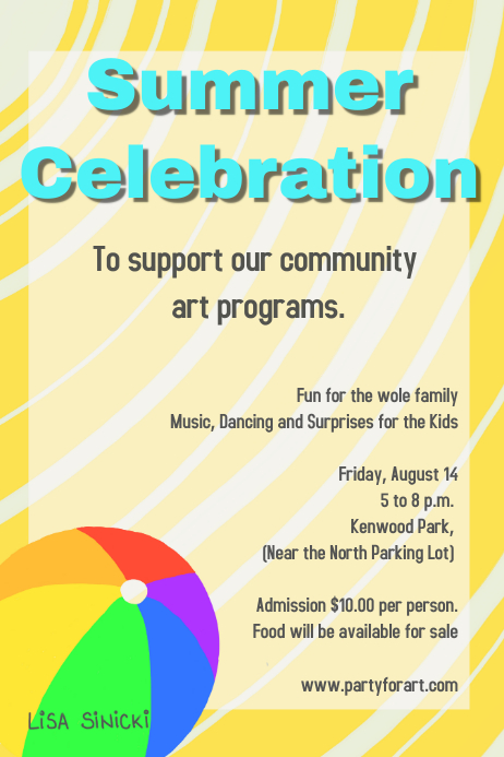 summer fundraiser celebration party poster