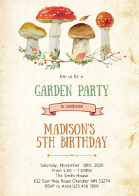 Summer garden birthday party invitation
