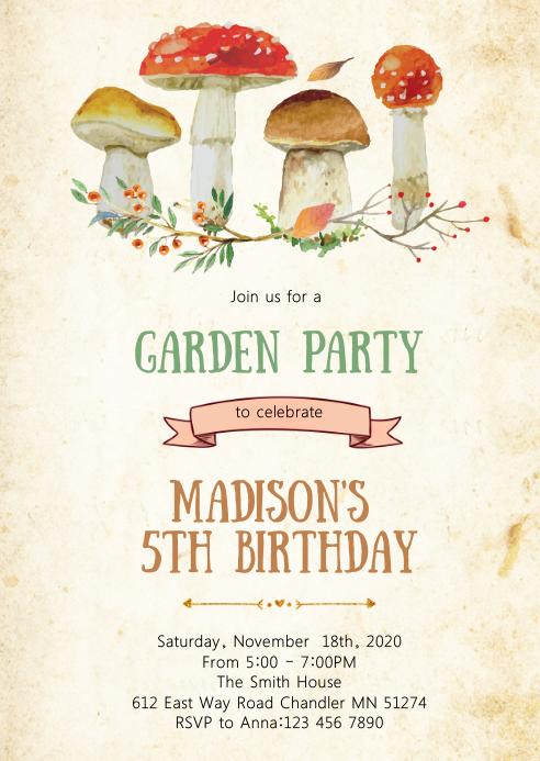 Summer garden birthday party invitation
