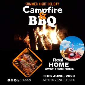 summer holiday campfire barbecue Instagram Post template