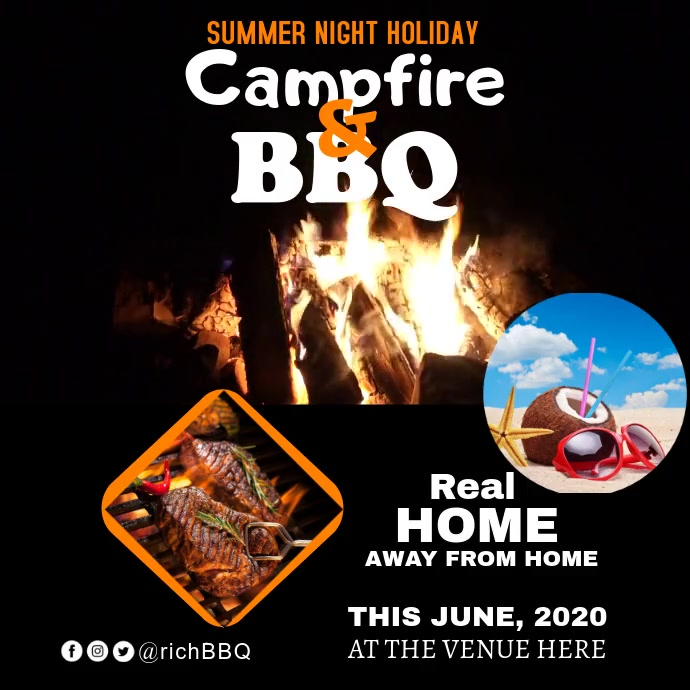 summer holiday campfire barbecue Pos Instagram template