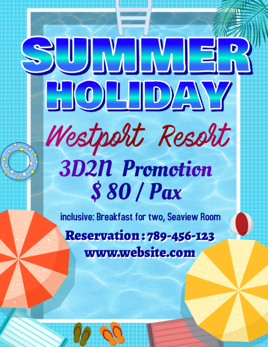 Summer Holiday Template Flyer (Letter pang-US)