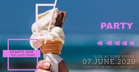 Summer ice cream social ad event Template delt Facebook-billede