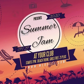 SUMMER JAM PARTY design template Logo