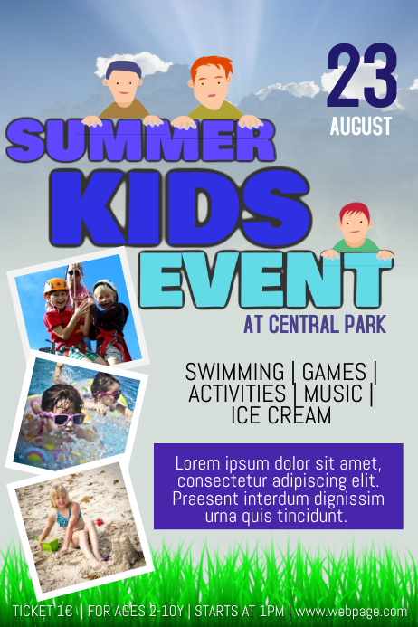 summer kids children fest event flyer template three photos