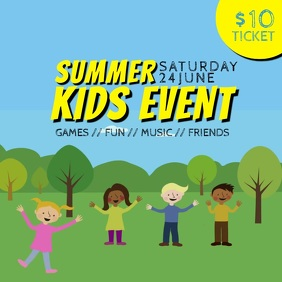 Summer kids fest camp event video instagram template Square (1:1)