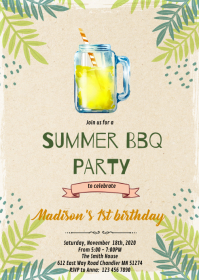 Summer lemonade bbq party invitation A6 template