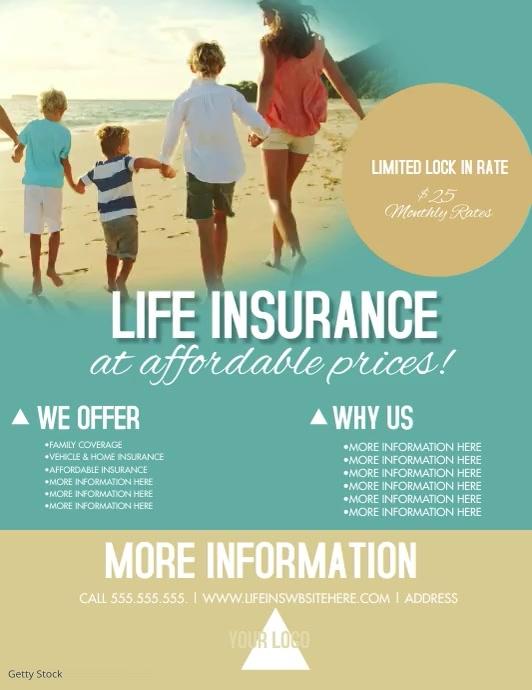 Summer Life Insurance Flyer Video Løbeseddel (US Letter) template