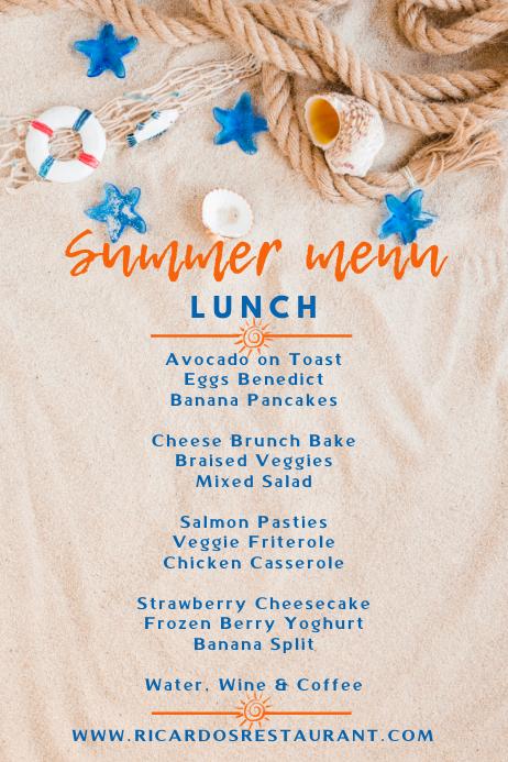 Summer Lunch Menu Template
