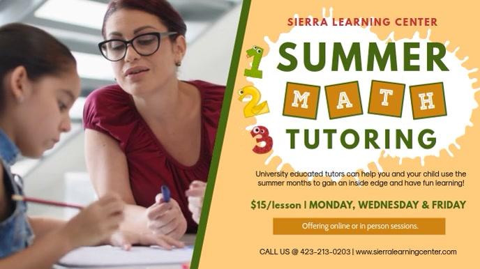 Summer Math Tutor Service Banner