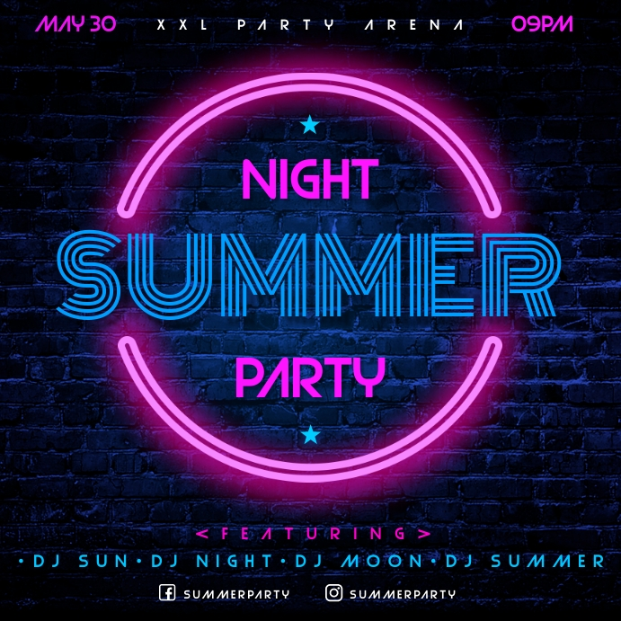 SUMMER NIGHT BANNER Publicación de Instagram template