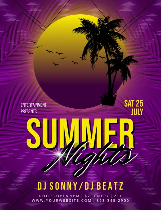 SUMMER NIGHT Flyer (US Letter) template