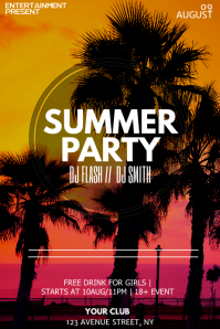 Summer night flyer template