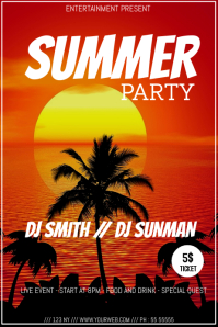 Summer night party video flyer template
