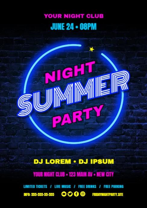 SUMMER NIGHT POSTER A4 template