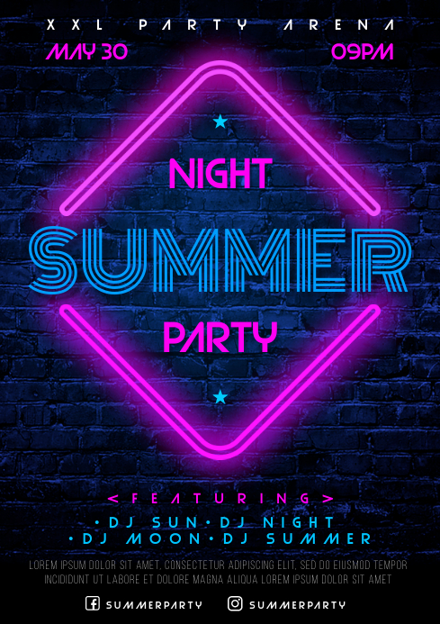 SUMMER NIGHT POSTER A4 template