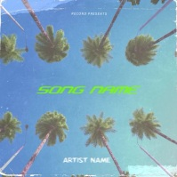 Summer Palm Trees cover video design template 专辑封面