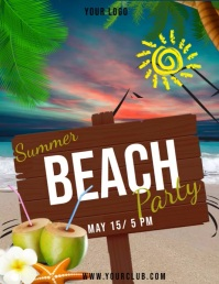 summer party, beach party, spring Pamflet (VSA Brief) template