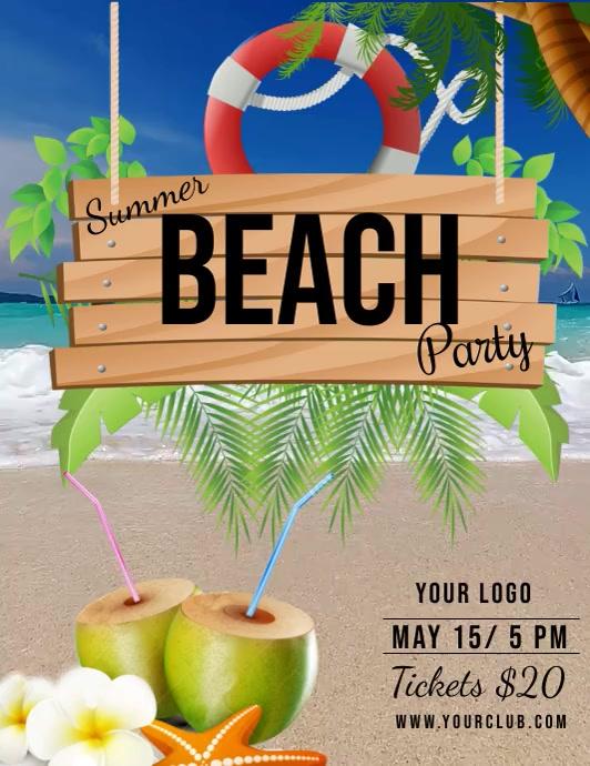 summer party, beach party, spring Volante (Carta US) template