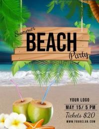 summer party, beach party, spring 传单(美国信函) template
