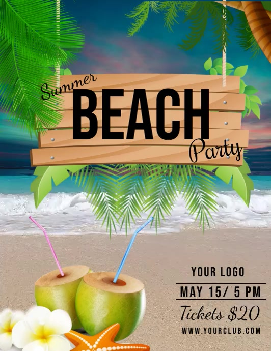 summer party, beach party, spring Løbeseddel (US Letter) template