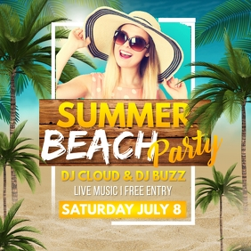 Summer Party,Beach party,tropical party,spring Persegi (1:1) template