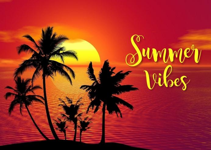 SUMMER PARTY , HAPPY SUMMER Kartu Pos template